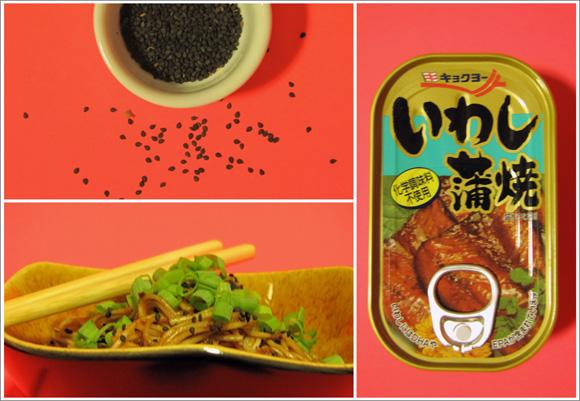 foto de um potinho com gergelim preto um lata de sardinha em conserva e um bowl com macarrao somen