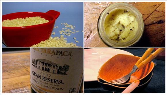 foto dos ingredientes para o risoto com manteiga de trufa branca