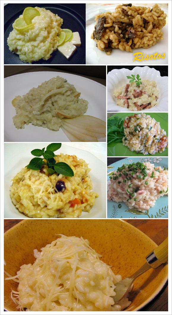 fotos de vários pratos de risoto