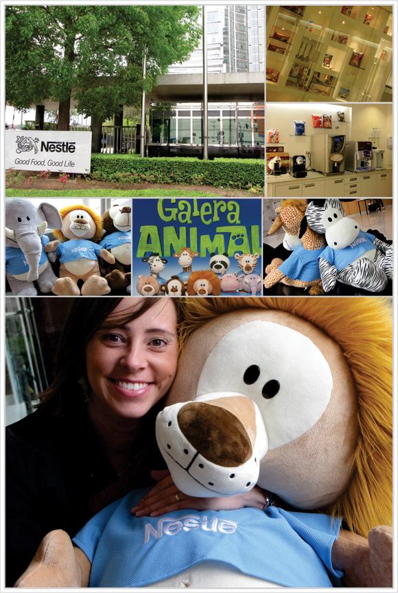fotos da sede da Nestlé em São Paulo e da galera animal na recepção da sede da Nestlé