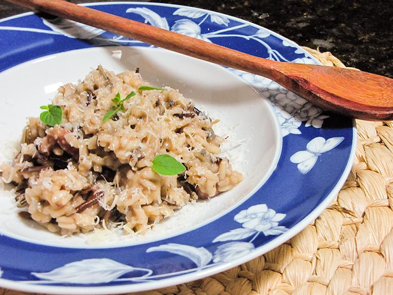 Risoto de vinho tinto com arroz selvagem