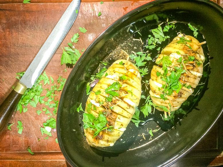 Batatas laminadas ao forno