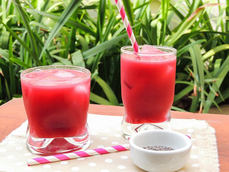 Suco rosa funcional