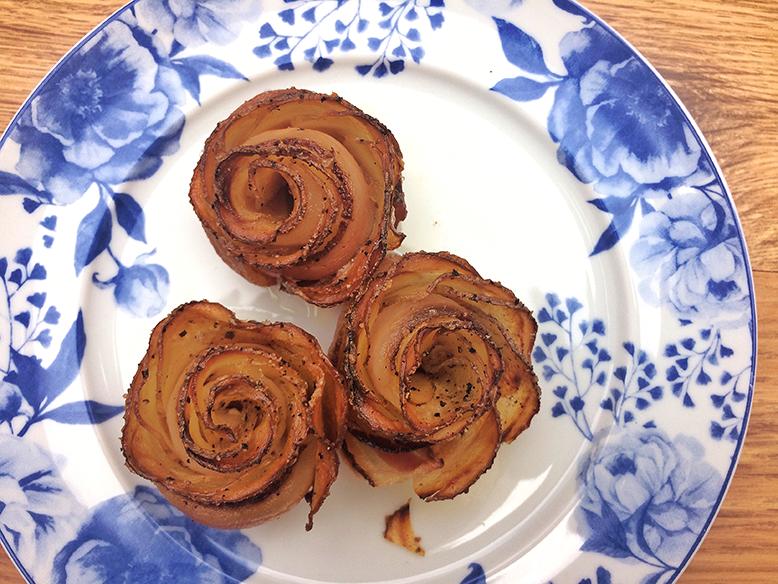 Receita de rosa de batata com bacon