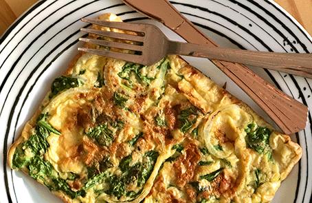 Receita de omelete de espinafre com aveia