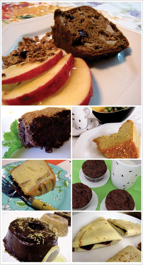 foto de bolo de maça com granola, muffin de chocolate com nutella, bolo de laranja, bolo de limão siciliano, bolo de banana, panquecas recheadas com geléia e brownie de nozes