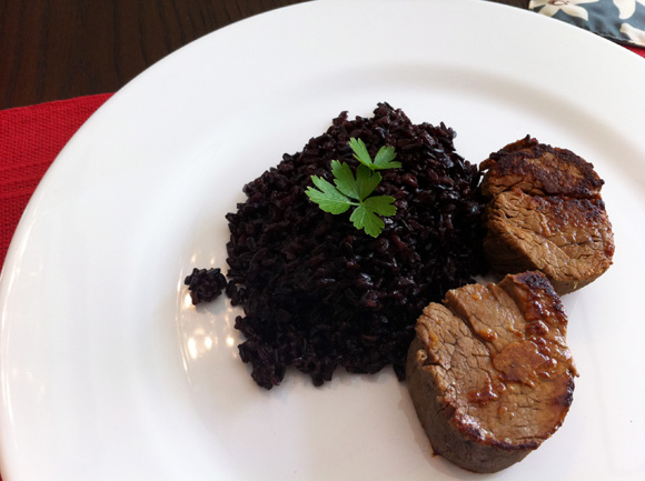 foto do arroz negro com medalhão</li> <p> de filé mignon