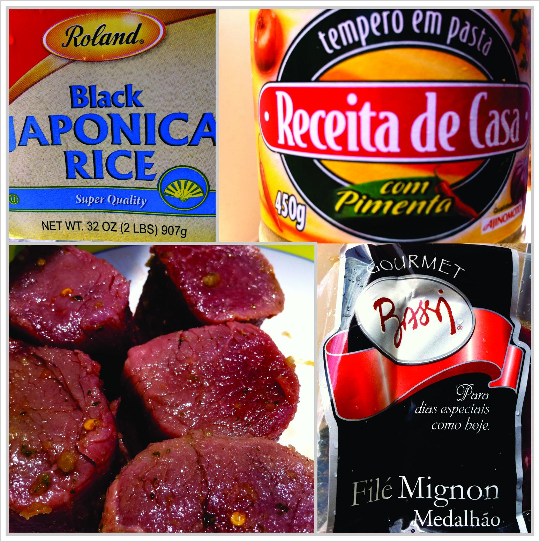 Receita de arroz negro com medalhão de filé mignon