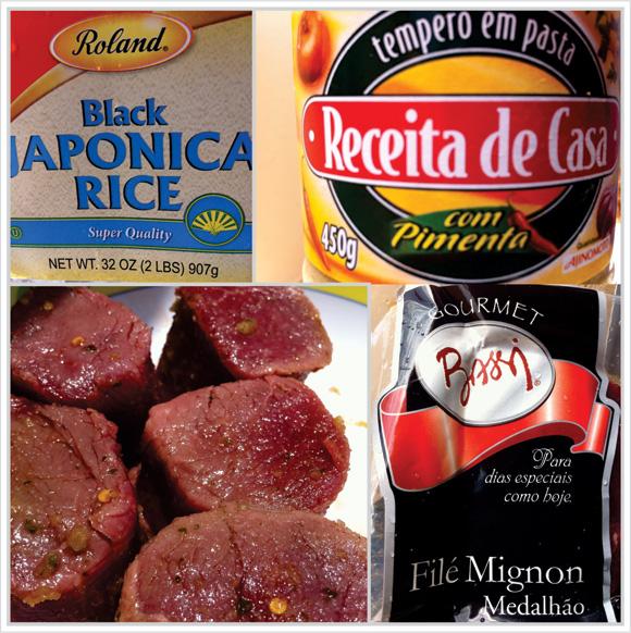 foto do tempero em pasta, do arroz japônico negro e dos medalhões de filé mignon