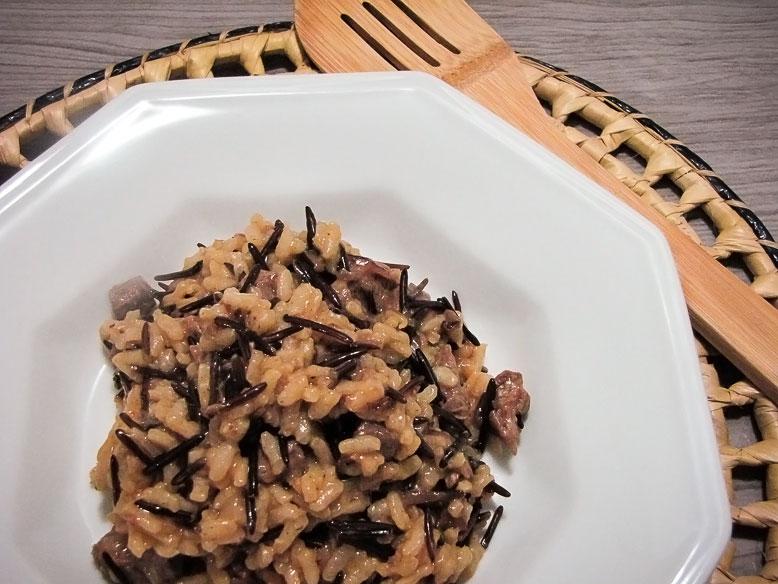 Risoto de filé mignon com arroz selvagem