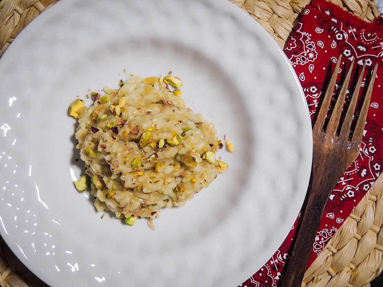 Risoto de pera com pistache