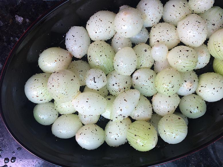 Receita de cebolas pérolas assadas